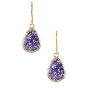 NEW✨ gold teardrop purple glass crystal earrings